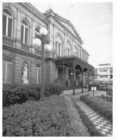 The National Theater of Costa Rica in San José, which is a national landmark due to its neo-classical style.