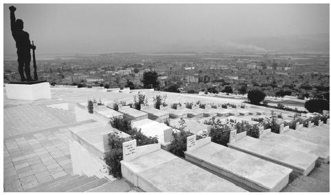 A historical cemetery of martyrs overlooking the city of Korcë. Many graves date back to the independence movement of the early twentieth century.