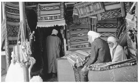 A rug store in Ghardaia. Traditional Algerian crafts, including woven carpets, have been widely praised for their attention to detail.