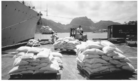 Imported rice is unloaded in Pago Pago. American Samoa imports many goods, including food, fuel, and building materials.