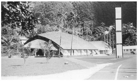 A high school auditorium in Utulei, on the island of Tutuila. American Samoa offers educational programs for preschool children, as well as universal public education through high school.