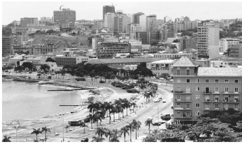 An aerial view of Angola's capital city, Luanda.