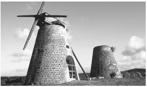 Antigua's historic windmills are remnants of the island's one-time role as a major sugar producer.