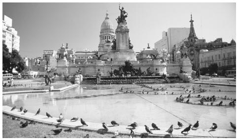A fountain in the Plaza del Congreso in Buenos Aires.