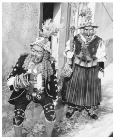 Costumed Austrians at a festival in Imst.