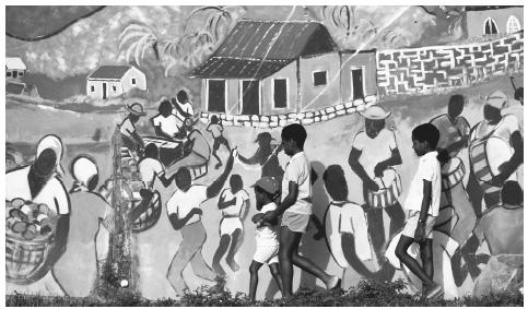 Children walk past a mural in Boscobel, St. Peter Parish. Murals are a common art form for the many artists in Barbados.