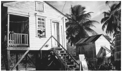 A house on stilts in Placencia. Hurricane damage has led to more use of ferro-concrete in post-1960s dwellings.