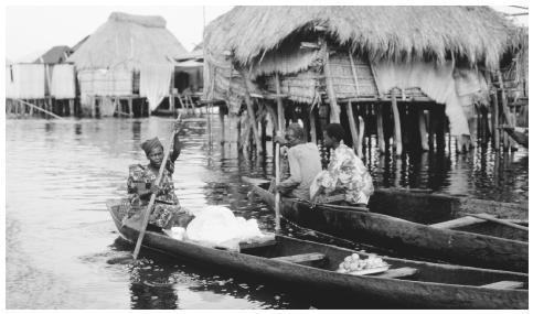 A fishing village on stilts. Ganvie, Lake Nokoue. Fish is more common as a daily meal in the southern part of Benin.