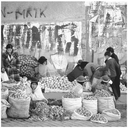 Women sell fruit and vegetables at a street market in La Paz. Women play an important role in the marketing of crops, which are equally harvested by men and women.
