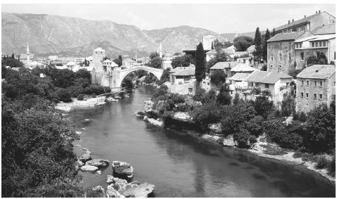 A scenic view of Mostar. The Bosna river, which flows through the country, is part of the country name.
