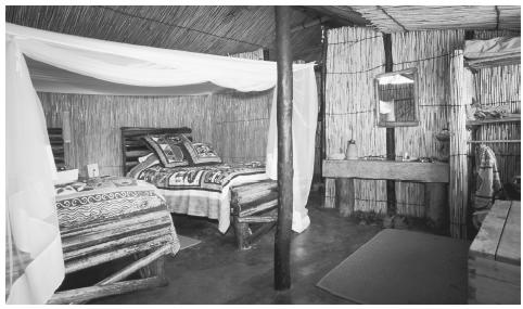 The interior of a hut along the Okavango Delta. Fifty percent of Tswana households are headed by women.