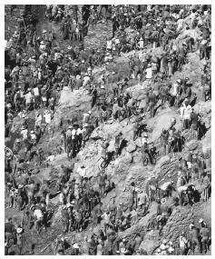 Thousands of saqueiros (sack carriers) working on the Serra Pelada gold mine, which is now closed. Gold was one of the most important exports in the eighteenth century.