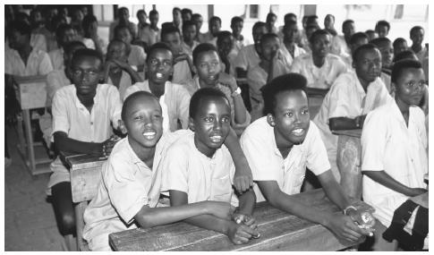 Tutsi schoolboys in a class in Bujumbura. Lack of supplies, teachers, and overall political instability have led to low school attendance figures, which average only 50 percent.