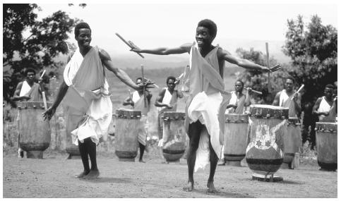Gitaga drummers perform a folk dance. Dance is an essential part of Burundian culture that has received international recognition.