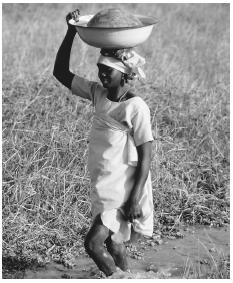 A woman carrying water back to her home to help care for and feed her family.