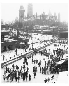 Skaters on the frozen Rideau Canal celebrate the Winterlude, a festival held annually in Canada.