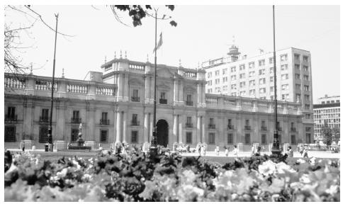 A view of the presidential palace. Santiago, Chile.