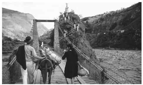A farmer, his wife, and their donkey cross a wooden footbridge to the market at Puente de Calamate, Colombia.