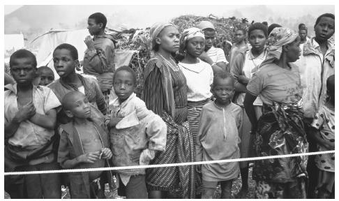 An overcrowded refugee camp in Kibumba. Ongoing military conflicts have led to the creation of the overpopulated refugee camps.