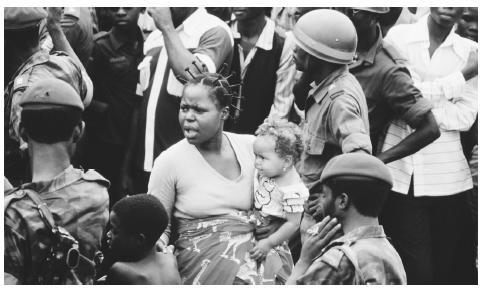 A group of women and soldiers during a 1980 visit by Pope John Paul II to Brazzaville, Congo. Roughly 50 percent of Congo natives practice Christianity.