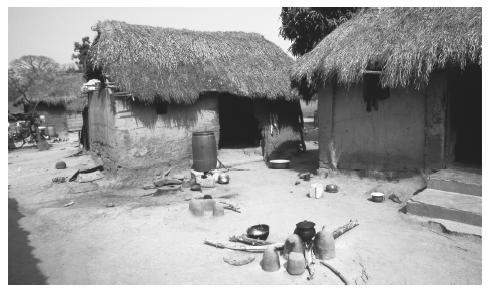 Mud and straw homes with thatched roofs are still common in villages.