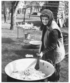 A Croatian woman makes sausages. Pork is a common food, especially in northern Croatia.