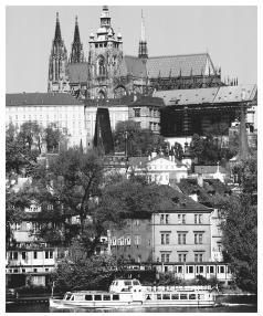 Buildings line the Vltava River in Prague, Czech Republic.