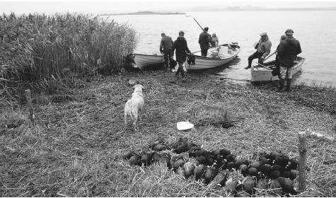 Some Danes, such as these hunters near Alborg, enjoy outdoor leisure activities.