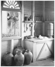 Clay jars provide storage in this kitchen in Santo Domingo.