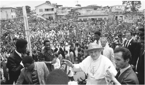 The Pope visits Bata. Eighty percent of Equatorial Guinea's population is Roman Catholic.