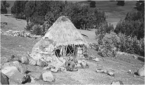 A traditional Ethiopian rural home built in cylindrical fashion with walls made of wattle and daub.