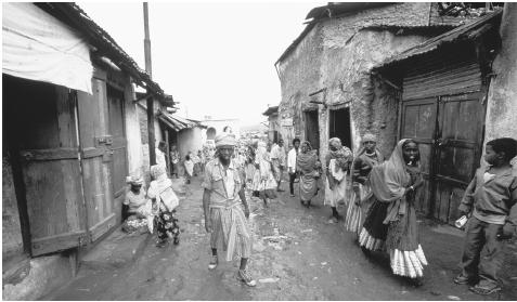 Taylors' Street in Harrar. Close living conditions, poor sanitation, and lack of medical facilities has led to an increase of communicable diseases.