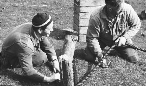 Two men check the rope of a grip used to collect seabird eggs in Faroe Islands. Outdoor work has traditionally been allotted to men.
