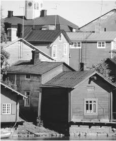 Wooden buildings in Porvoo. Few of Finland's residences predate World War II.