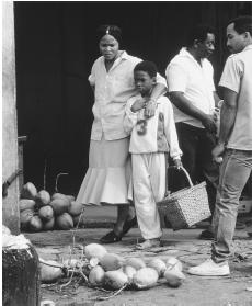 A street scene in Cayenne. French Guianese markets offer a variety of locally grown fruits and vegetables in addition to meat and fish.