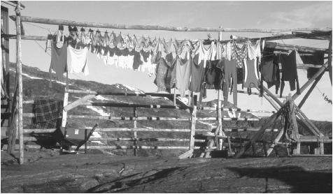Laundry hanging at a farm in Jakobshavn. Most Greenlandic homes are constructed of stone, sod, or wood.