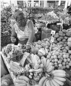 A produce vendor working at a large fruit stand in Basse-Terre. Bananas are a major crop for Guadeloupe.