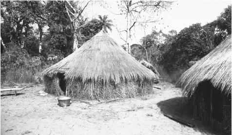 Thatched houses in a Buboque Island village in the Bijagos Islands. Although cities display colonial architecture, villages feature these more traditional dwellings.