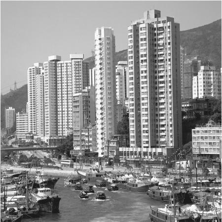 Skyscrapers along Aberdeen Harbour accommodate the high population density.