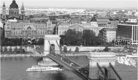 The towns of Buda and Pest (shown in 1995), on opposite sides of the Danube River, joined to become Budapest in 1873.