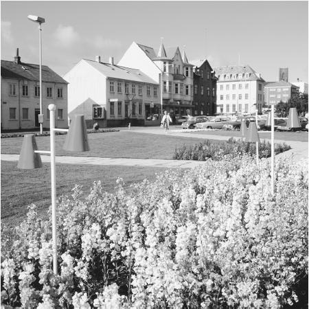 Flowers adorn a public square. Icelanders take extreme care in the upkeep of public areas.
