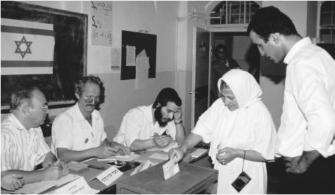 People voting in an election. Israel is a parlimentary democracy, divided into six administrative districts.
