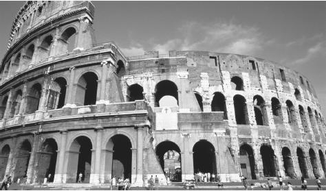 The Coliseum in Rome, a popular tourist spot.