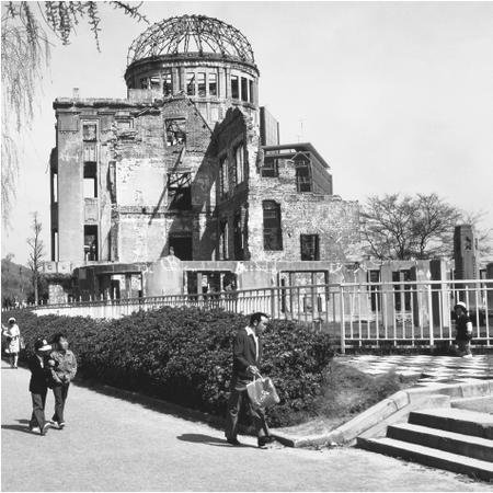 Downtown Hiroshima and the memorial of the atomic bomb. The bombing of Hiroshima and Nagasaki brought Japan to unconditional surrender in World War II.