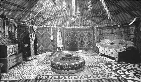 Interior of a yurt, a mobile dwelling used by nomadic Kazakhs.