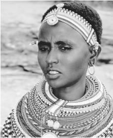 A young Samburu woman wearing traditional ornamentation.