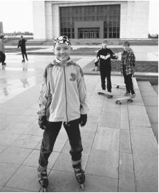 Skaters in Ala-Too Square, Bishkek.