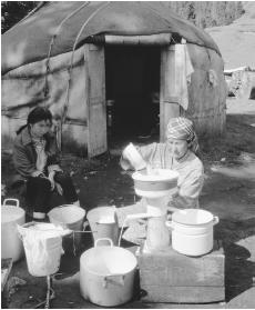 Woman making sour cream in Kjety Oguz, Kyrgyzstan.