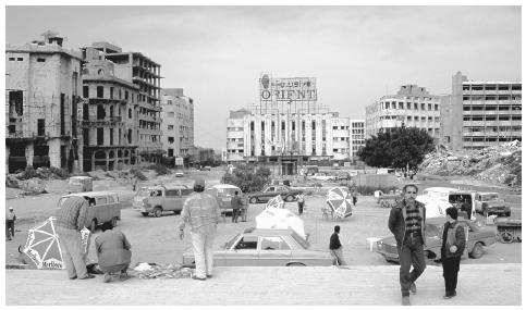 A market in the war-ravaged capital city of Beirut, circa mid-1980s.