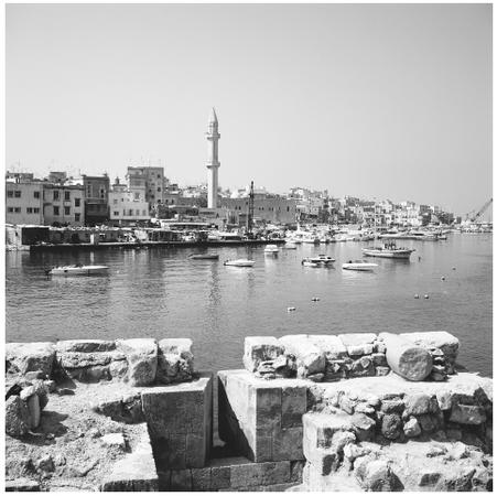 View from Crusader Castle of the Port of Sidon.